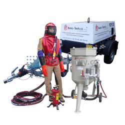 Balíček-Soubor zařízení: Mobilní pískovačka s přísl.+vlečný/mobilní dieselový kompresor