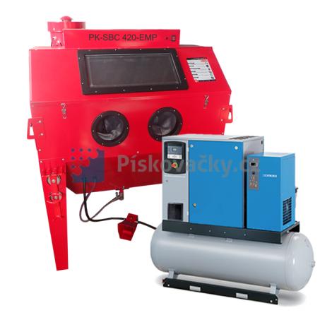 Balíček-Soubor zařízení-Kabinová pískovačka+El. šroub. kompresor