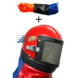 Akce - Helma VEGA (pogumovaná) + rukavice GRT